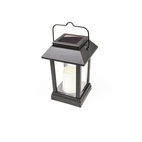 SOLAR PLASTIC BLOCK LANTERN WITH FLAMELESS CANDLE